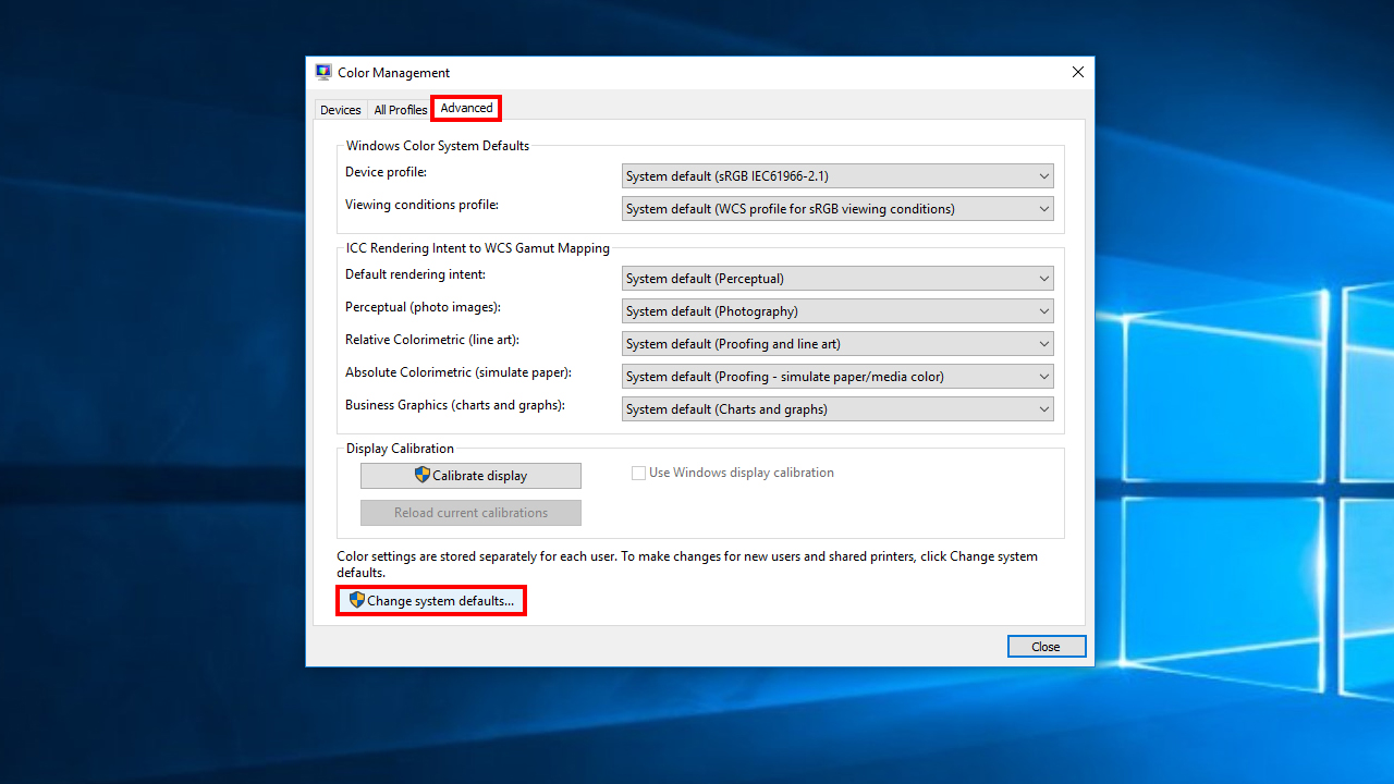 Windows ICC Calibration Settings