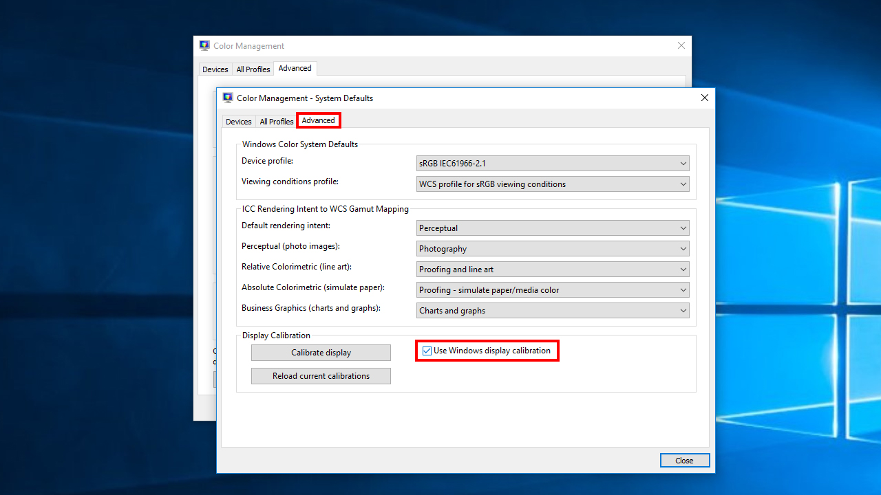 Windows ICC Advanced Calibration Settings